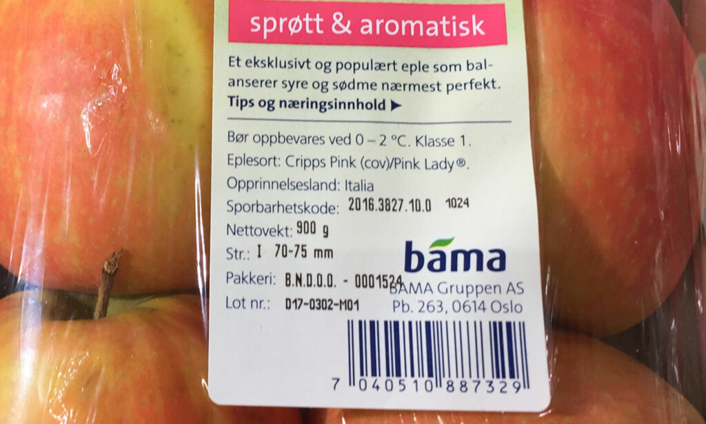 EMBALLASJE: Her skal det være informasjon om produsent og produksjonsland, samt LOT-nummer. Foto: Linn M. Rognø.