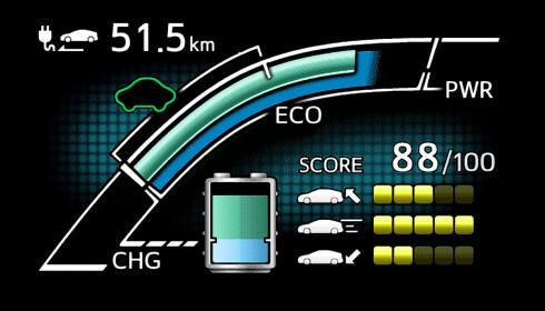 EGET SKJERMBILDE: I det digitale instrumentpanelet kan Prius PHV hente opp informasjon som er spesifikk for den ladbare versjonen. Skjermdump: Toyota