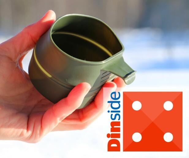 TRADISJONELL «SNYLTE-KOPP»: Det blir ikke enklere enn denne fra Wildo: Den øvre kanten vippes opp - og du har en kopp. Foto: Hanna Sikkeland