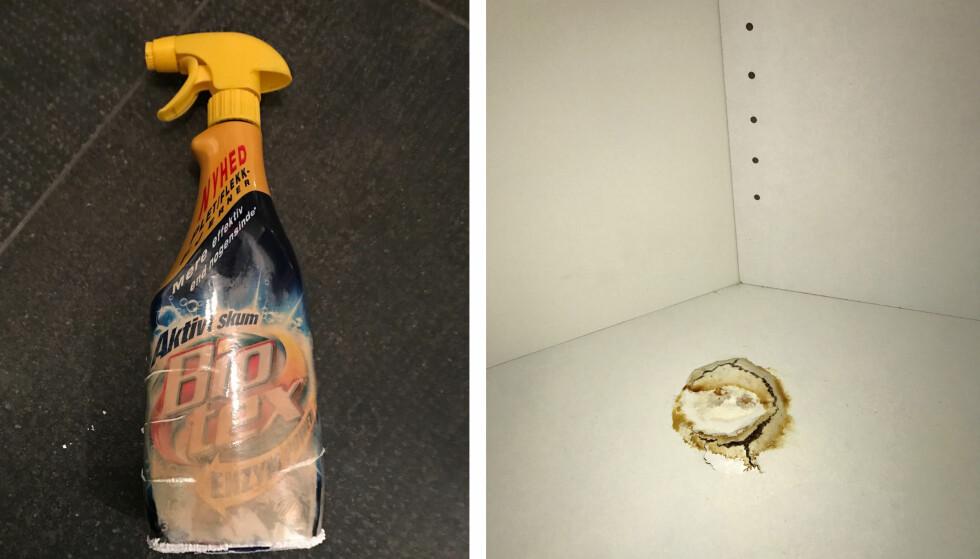 HULL: Sprayflasken er misfarget og blass, og der den sto har det dannet seg sprekker som går tvers gjennom hylleplaten. Foto: Privat
