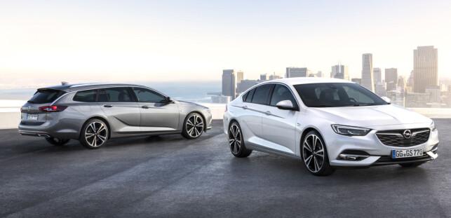 TO GANGER FEM DØRER: Som stasjonsvogn ved navn Sports Tourer eller liftback ved navn Grand Sport, satser Opel Insignia på spenstig design for å selge. Foto: Opel