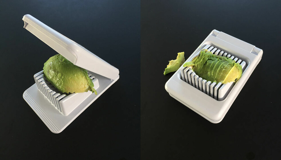 AVOCADO: En spisemoden, halv avocado er supermyk og enkel å dele i eggedeleren. Litt skvist blir den, men løfter du den forsiktig opp av deleren, kan du legge skivene pent på et fat.