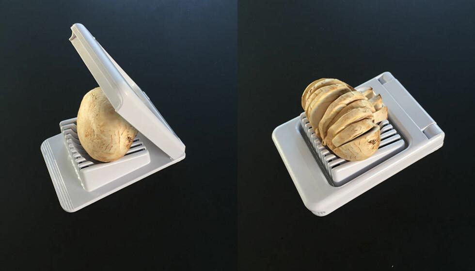 SOPP: Soppen er gjerne hardere i konsistensen enn man skulle tro og derfor litt vanskelig å dele. Men det funker, dog må ikke soppen være altfor stor for at den skal passe oppi eggedeleren.