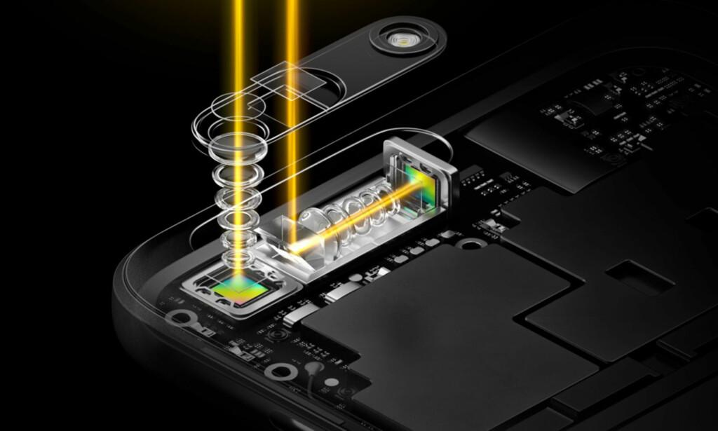 BØYD OPTIKK: Ved å reflektere lyset nitti grader via et prisme, kan brennvidden gjøres lenger uten at telefonen blir tykkere. Foto: Oppo