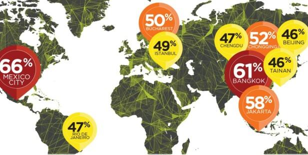 VERDENS VERSTE TRAFIKK: Kartet viser de ti byene i verden med mest trafikkaos. Grafikk: Tomtom