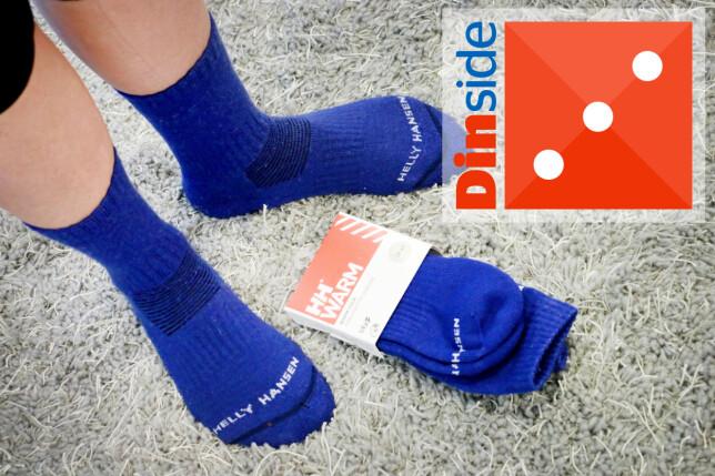 HELLY HANSEN: Blant de tykkeste sokkene i testen. Vi liker ikke den stramme strikken øverst på skaftet. Og det er et dårlig tegn at tverrsømmen over tærne slipper. Foto: Ole Petter Baugerød Stokke