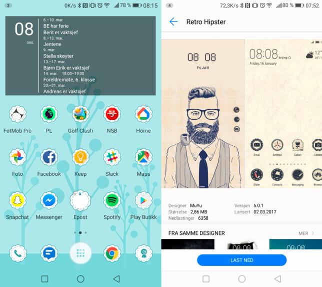 TEMAER: Huawei har lenge hatt et svært godt utvalg av temaer du kan laste ned, som endrer bakgrunnsbilde, farger og ikoner. Foto: Pål Joakim Pollen