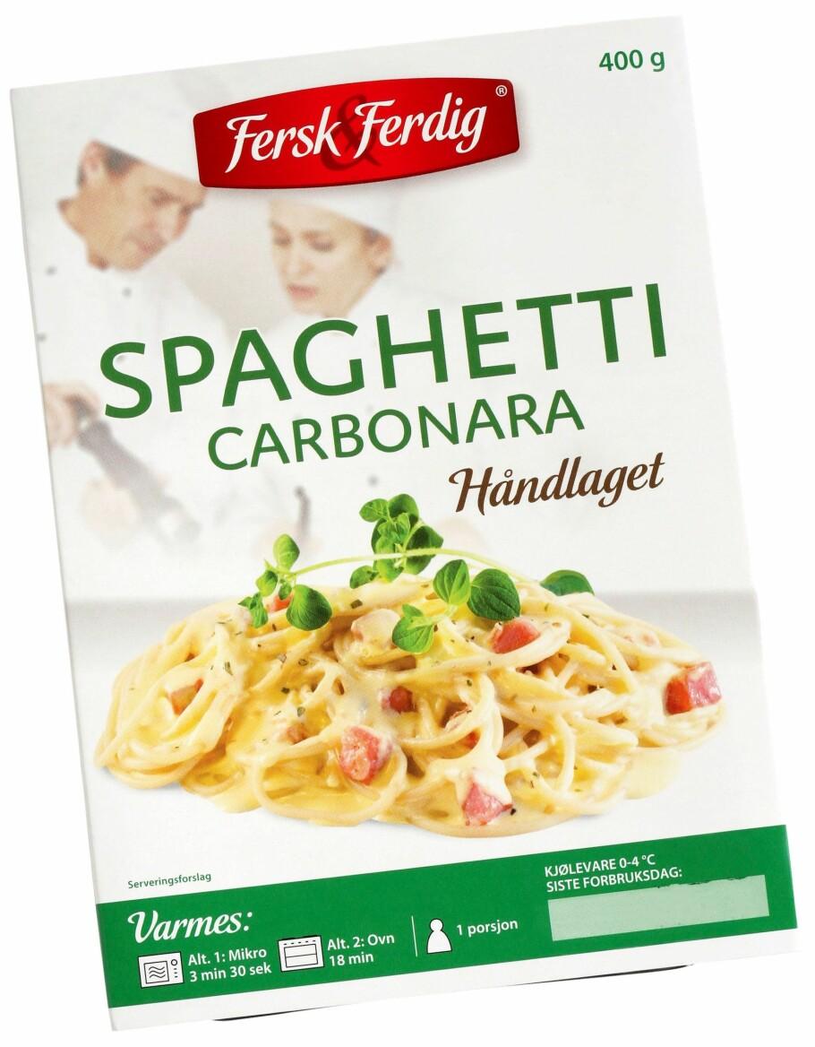 DETTE KAN VÆRE FISKEGRATENG: Kanskje et triks for foreldre som sliter med å få ungene til å spise fisk? Fiskegrateng er ved en feiltakelse pakket som pasta carbonara. Det kan være alvorlig for fiskeallergikere. Foto: NorgesGruppen