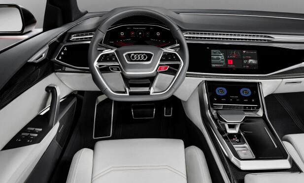 DIGITALISERT: Audi Q8 sport concept har betjening via berøringsskjermer, virtual cockpit og kontaktanalogt head-up display. Foto: Audi