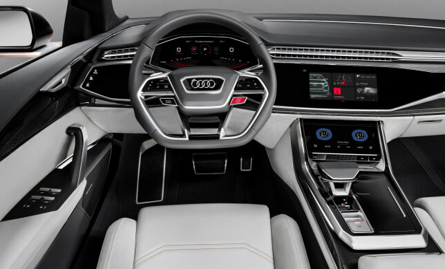 DIGITALISERT: Audi Q8 sport concept har betjening via berøringsskjermer, virtual cockpit og kontaktanalogt head-up display. Foto: Audi
