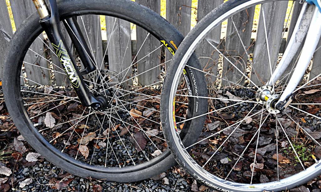 ULIK BRUK: Skal du sykle i marka, eller bare en tur i byen? Eller kanskje i lange, raske strekk på en landevei? Sjekk hjul og ramme før du bestemmer deg for hvilken sykkel som passer deg best. Foto: Tore Neset