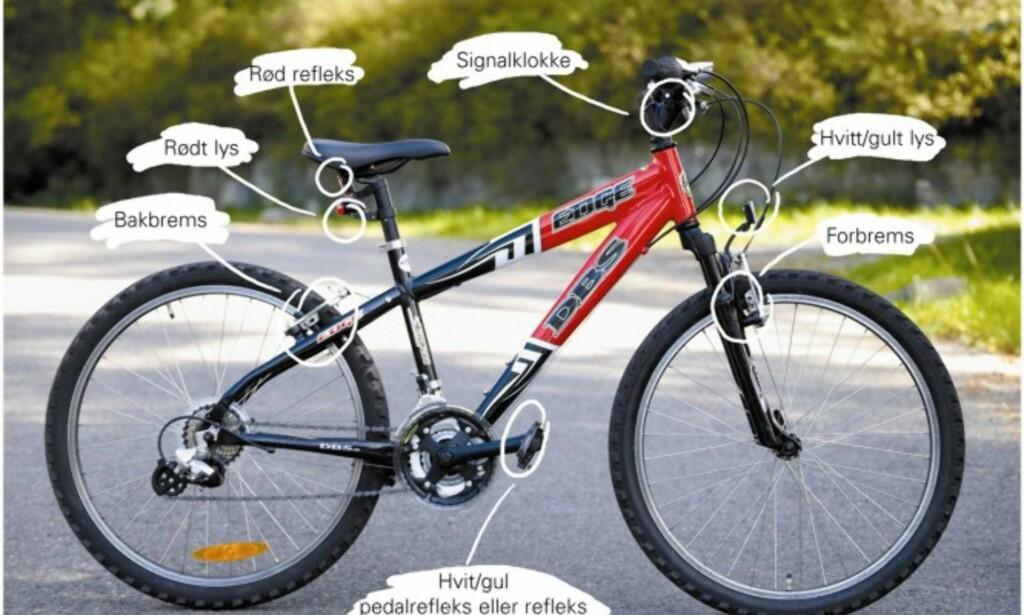 PÅBUDT: ikke alle sykler har dette i orden. Foto/illustrasjon: Trygg Trafikk
