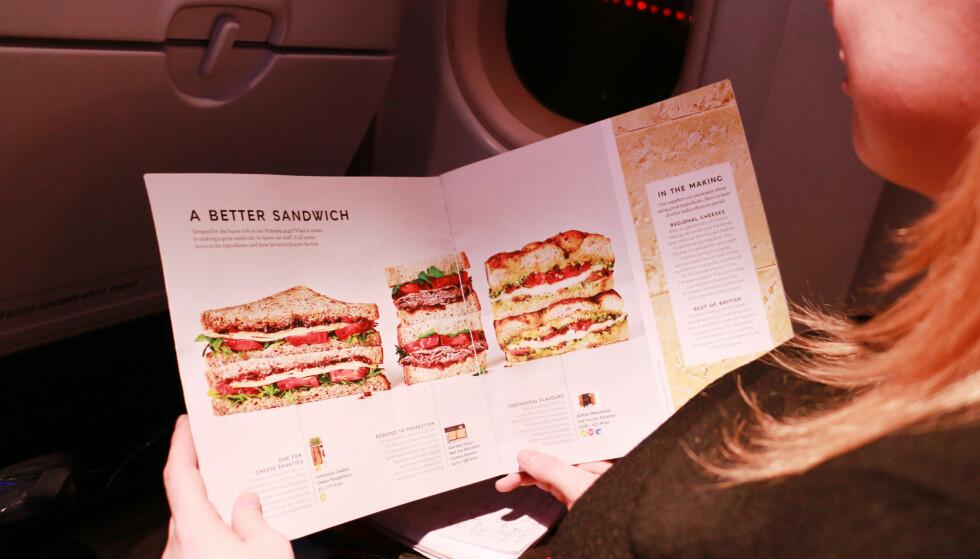 """MAT OMBORD: British Airways lover """"et bedre smørbrød"""". Det klarer de faktisk! Foto: Berit B. Njarga"""
