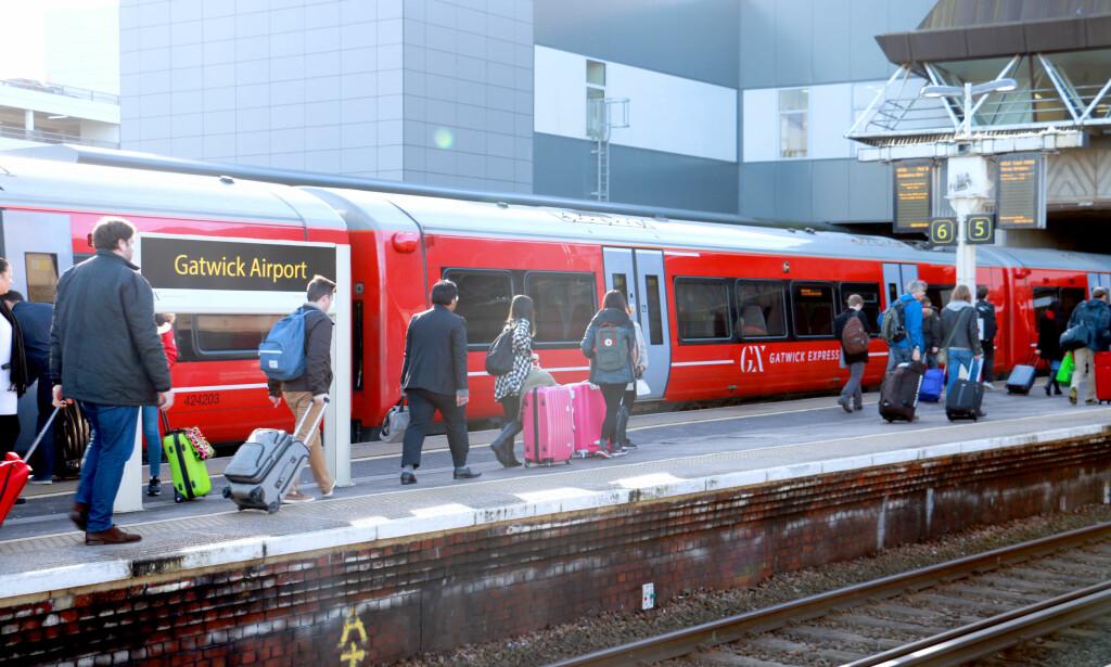 RASKEST MED TOG: Toget er raskest mellom London og Gatwick - men du har tre selskaper å velge i, og Expressen er ikke veldig mye raskere enn Thameslink. Foto: Hanna Sikkeland