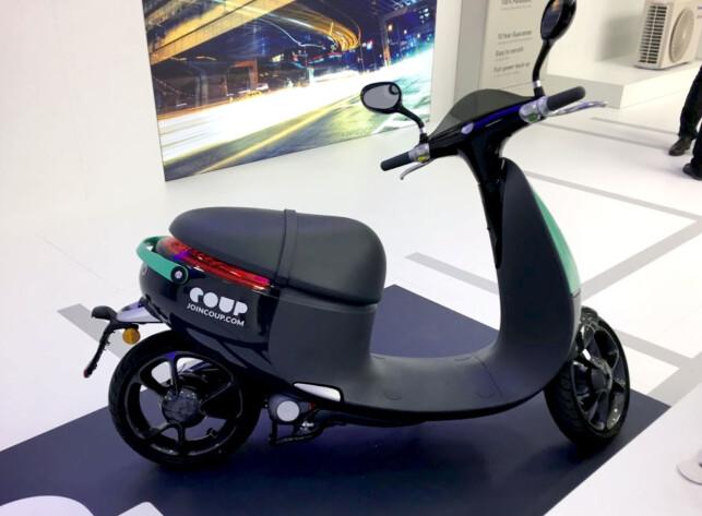 TYPISK SCOOTER-LOOK: Gogoro Smartscooter ser ved første øyekast ut som en helt vanlig scooter. Foto: Bjørn Eirik Loftås