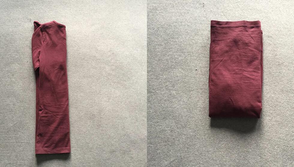 """3. Deretter bretter du inn hver side av genseren mot midten.&nbsp;<span style=""""line-height: 1.5; background-color: inherit;"""">4. Ta tak i nederste ende av genseren og brett i retning oppover mot halsen.</span>"""