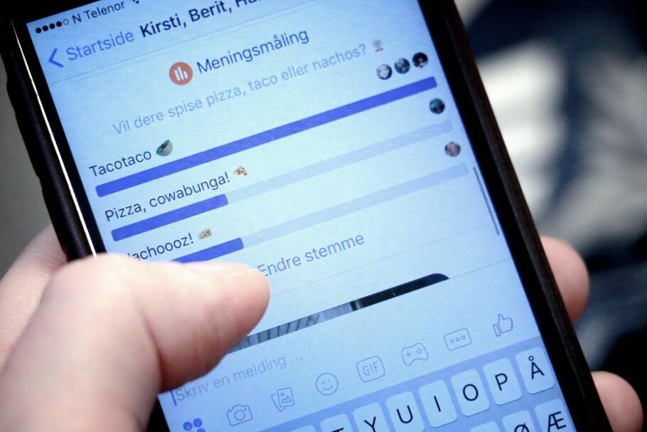 KJAPT OG KJEKT: Ved å lage en meningsmåling i Facebook Messenger kan du raskere få svar på det du spør om. Foto: Ole Petter Baugerød Stokke