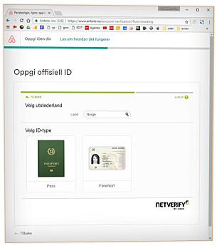 BER OM BILDER: Her ser du hvordan Airbnb ber deg om å laste opp bilder av pass eller førerkort for å verifisere kontoen din. Foto: Ole Petter Baugerød Stokke