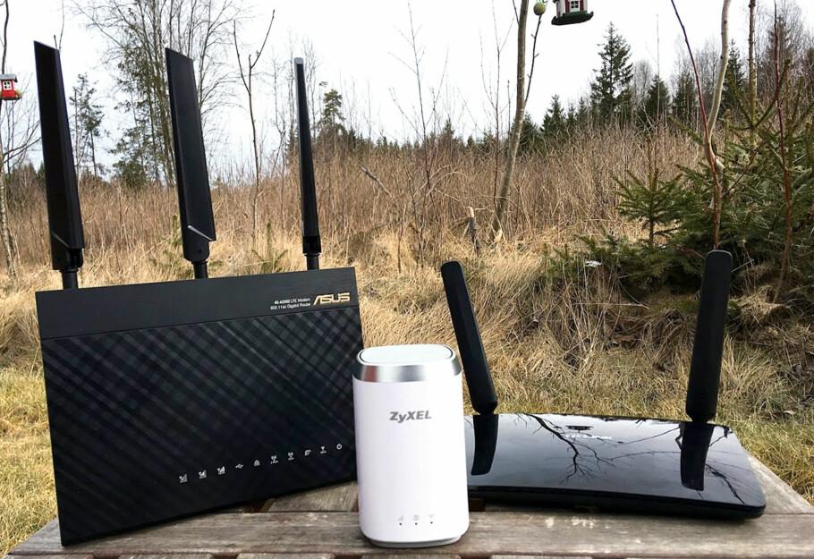 BREDBÅND VIA MOBILNETTET: Vi har testet tre trådløse 4G-rutere som får hele familien på nett i påskefjellet. Foto: Bjørn Eirik Loftås