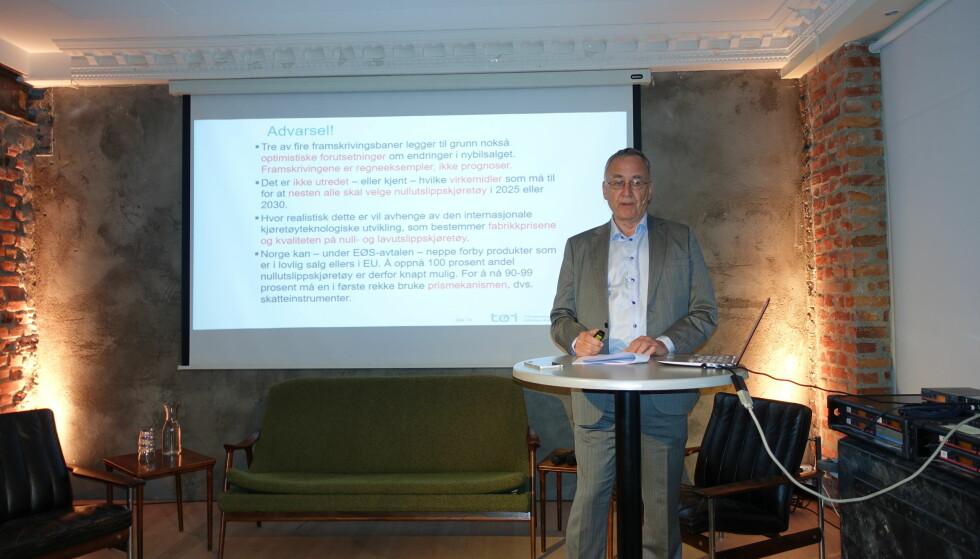 Skeptisk: Lasse Fridstrøm har regnet seg frem til veien mot nullutslipp, og mener tre av fire faktorer er på den optimistiske siden. Foto: Fred Magne Skillebæk