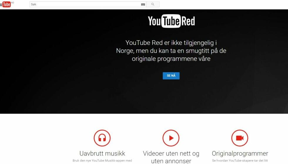 PÅ NORSK! Slik ser det ut når du går inn på Youtube Red i Norge. Foto: Skjermdump