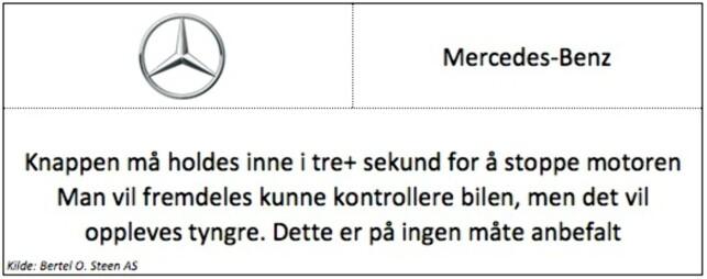 Keyless: Gjelder modellene A-klasse, B-klasse, C-klasse, E-klasse, CLA, GLA og GLC. Mercedes-Benz Vito har tradisjonell nøkkel.