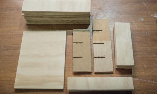 LIK: Hele kassen består av kryssfiner i samme tykkelse. FOTO: Simen Søvik