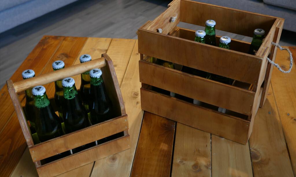 HJEMMELAGET: Lager du ditt eget øl? Da kan du enkelt lage din egen kasse til oppbevaring. Enten en liten til frakt eller en større som kan stables i høyden. FOTO: Simen Søvik