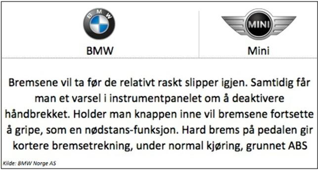 BMW: Gjelder for modellene 1-serie, 2-serie, 3-serie, 5-serie, X1, X3, X4, X5 og i3. Mini: Gjelder for modellen Hatch («standard» Mini).