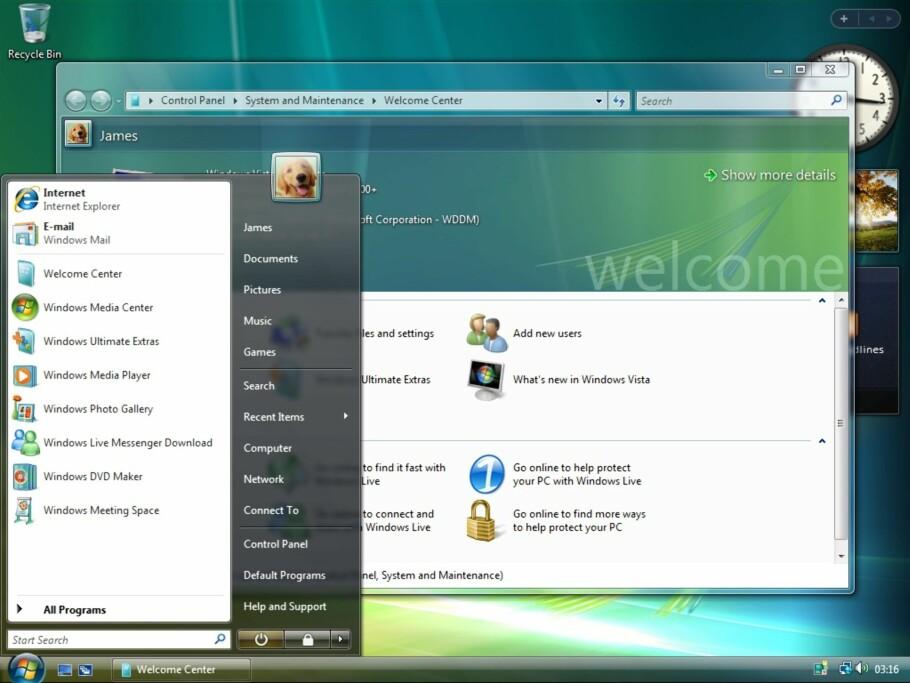 STRAKS HISTORIE: Windows Vista, med sine gjennomsiktige menyer og tittellinjer, miniprogrammer og Windows DVD Maker, pensjoneres for godt 11. april. Skjemdump: Microsoft