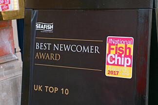 MAYFAIR CHIPPY MED UTMERKELSER: Jepp, her er det bra kvalitet på fish and chips. Foto: Hanna Sikkeland