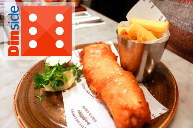 TERNINGKAST 6 TIL MAYFAIR CHIPPY: Smakfull fish and chips, delikat presentert, hyggelig servering og lyse lokaler. Hit går vi gjerne igjen! Foto: Hanna Sikkeland