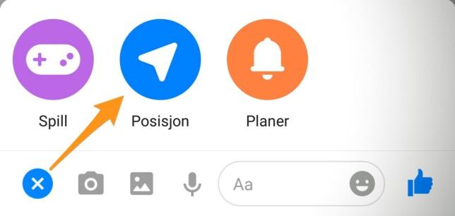 På Android trykker du på det blå pluss-ikonet nederst til venstre og deretter på posisjon.