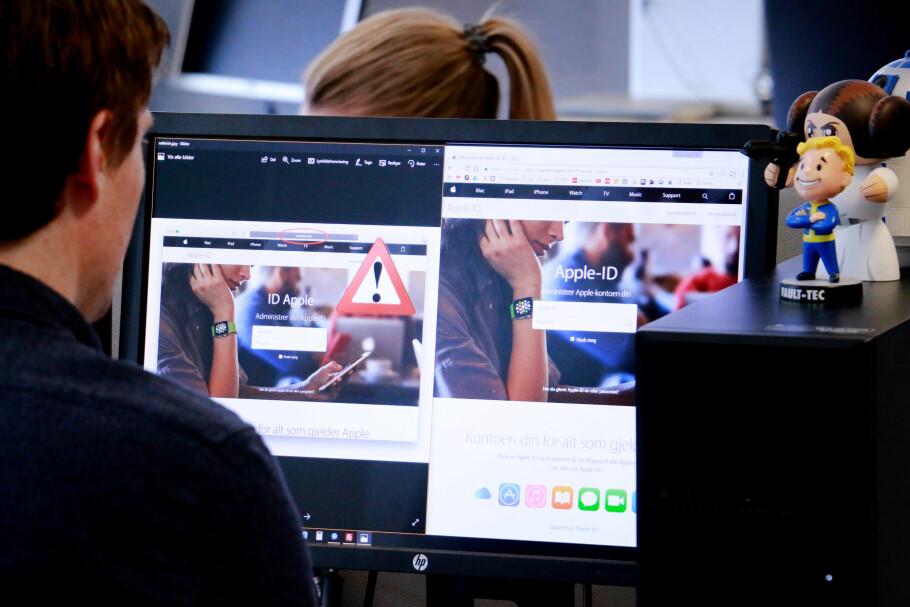 FALSK OG EKTE: Innloggingssiden du ser til venstre er falsk. Apple-ID-siden til høyre er ekte. Svindlerne har kopiert den norske siden for å lure flest mulig med phishingen sin. Foto: Ole Petter Baugerød Stokke