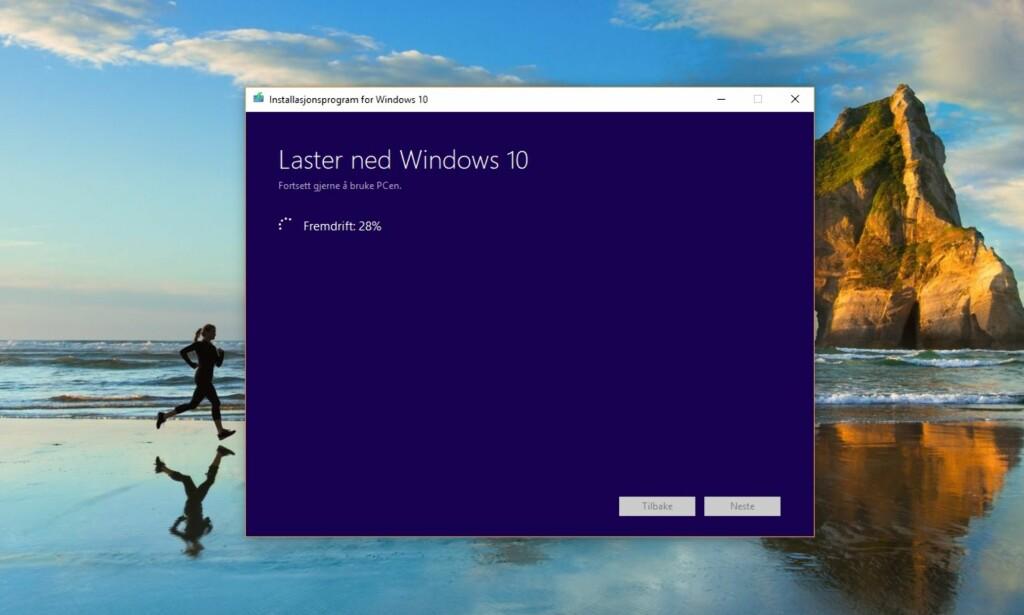 FØRST I KØEN: Hvis du ønsker å laste ned og installere den nye Windows 10-utgaven, kan du gjøre det allerede nå. Skjermdump: Dinside