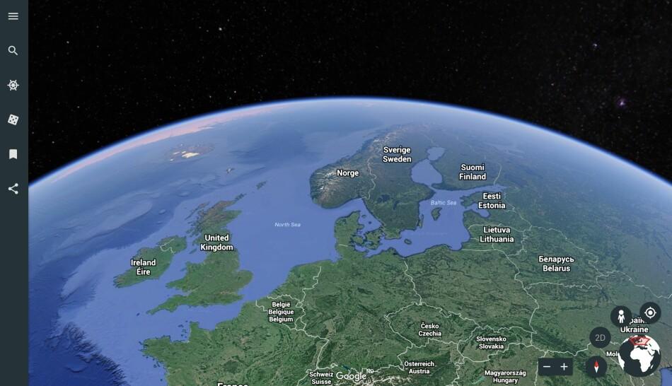 SE KLODEN: Google Earth lar deg se hele jordkloden og zoome inn til den minste detalj. Skjermdump: Pål Joakim Pollen