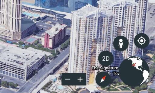 KNAPPER: Zoom ut og inn med pluss og minus, rett kartet mot nord med kompasset, bytt mellom 2D og 3D eller bruk street view-tjenesten for å se ekte gatebilder. Skjermdump: Pål Joakim Pollen