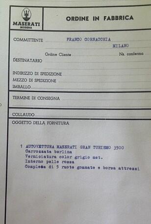 ORDINE IN FABRICCA: Maserati har orden i sysakene. Arkivet viser at Thomassens bil ble bestilt av Maserati-forhandler Franco Cornacchia i Milano. Foto: Privat