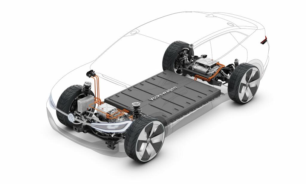 FLATT BATTERI?: Vel, det ligger som i alle andre elbiler i bunnen av bilen. Vektfordelingen blir optimal. Illustrasjon: VW