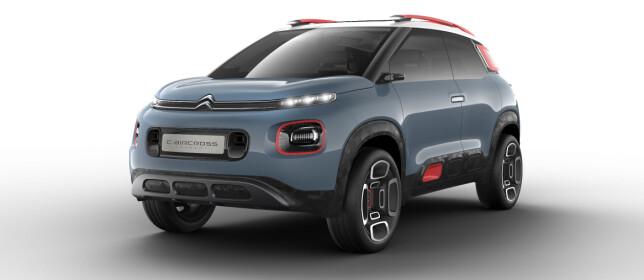 MEN FØRST...: Faktisk kommer det en mindre SUV fra Citroën til Europa før C5 Aircross. Til høsten kommer nemlig produskjonsmodellen av denne konseptbilen som ble vist i Genève i mars, C-Aircross Concept. Det er ventet at bilen, som deler plattform med Peugeot 2008 og Opel Crossland X, vil hete C3 Aircross. Foto: Citroën