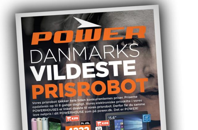 HER ER POWER: Slik ser det ut i Danmark. Som du ser er det mye av det samme som Expert i Norge, med oransje farger og prisroboter, bare med Power-logo. Foto: Ole Petter Baugerød Stokke