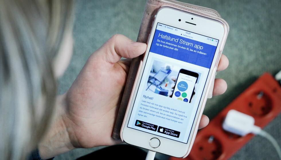 """""""HVA BRUKER JEG STRØM PÅ?"""" Hafslund-appen viser ikke ditt reelle forbruk, men estimerer dette basert på blant annet statistikk. Foto: Ole Petter Baugerød Stokke"""