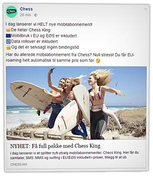 GRATIS: Eksisterende kunder hos Chess og OneCall får fri EØS-roaming uten ekstra kostnad. Nye kunder må betale. Foto: Ole Petter Baugerød Stokke