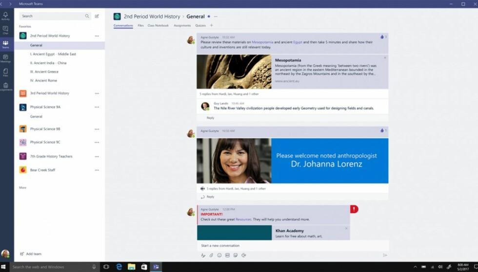 Microsoft Teams er et verktøy for samhandling, som en konkurrent til Slack eller Facebook@Work. Foto: Microsoft