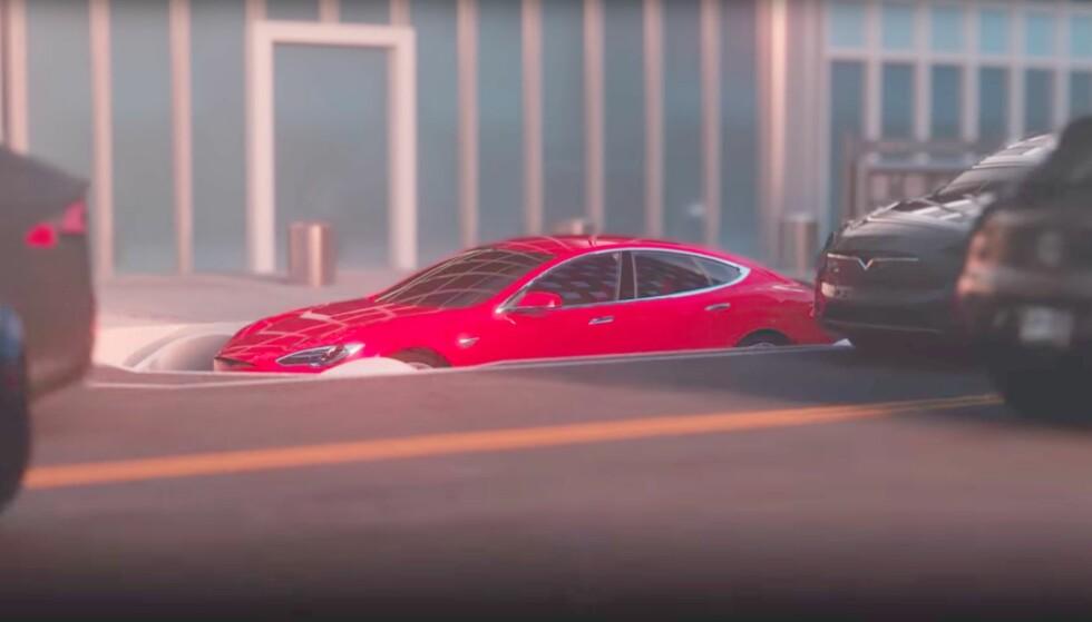 THE BORING COMPANY: Elon Musks nye planer går ut på å senke biler ned fra storbyenes gater og ned i en underjordisk fraktetunell for biler. Foto: Skjermdump