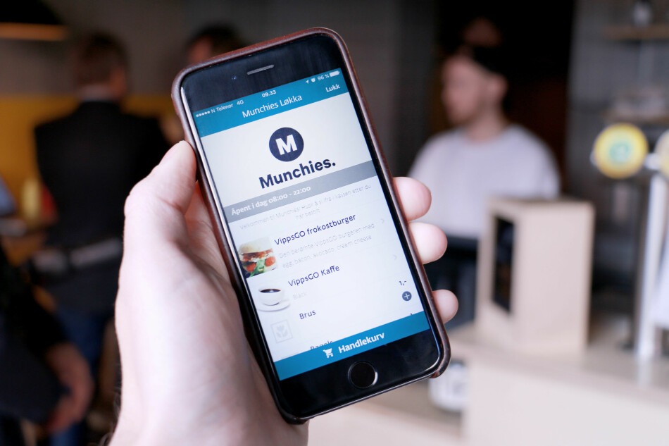 VIPPS GO: Slik ser det ut i Vipps-appen når du trykker deg inn på for eksempel en restaurant som bruker Vipps Go. Du kan bestille det du skal ha, og betale for det, rett i Vipps-appen. Foto: Ole Petter Baugerød Stokke