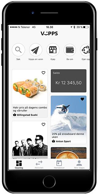 FRAMTIDA: Her er en skisse av hvordan Vipps-appen kan bli seende ut snart. Tilbud og butikker, i stedet for bare en «bankutskrift», slik det er i dag. Foto: DNB