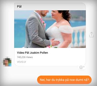 Det kan være fristende å klikke på en «video» du mottar fra en Facebook-venn, men spør først om du synes den er litt tvilsom. Skjermdump: Pål Joakim Pollen