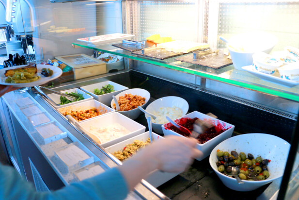 IKKE VELDIG SPENNENDE: Salatene er ikke veldig spennende. Det beste er osten, rundstykke og oliven. Men dyrt å betale nesten 400 kroner for en brus og litt ost ... Foto: Kristin Sørdal