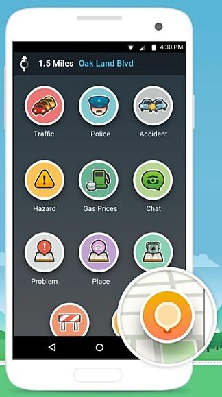 RAPPORTERING: Waze-brukere kan enkelt rapportere om ulykker, farer i veibanen, bensinpriser og annet direkte fra appen. Foto: Waze